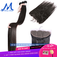 Бразильские пряди волос с закрытием прямые 32 34 36 38 40 дюймов Пряди человеческих волос с фронтальным кружевом 13х4 прозрачные