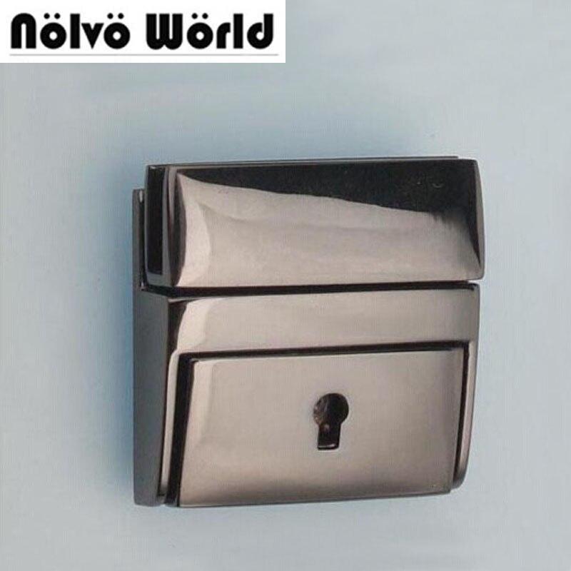 5pcs 42*40mm 1.5 Inch Polished Gun Black Press Locks Has A Key For Men Leather Handbag Briefcase Bags Sewing