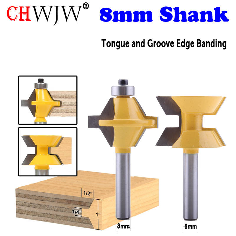 CHWJW 2PC 8mm Shank Tongue And Groove Edge Banding Router Bit Set Wood Cutting Tool