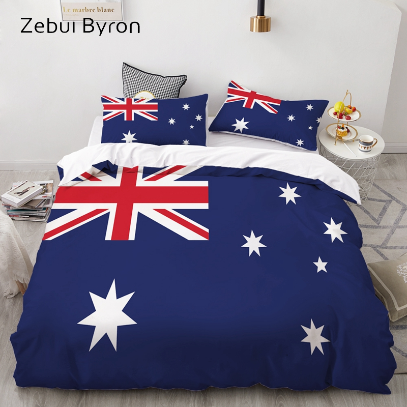 3D Bedding Set Custom/AU,Duvet Cover Set Queen/King,Quilt/Blanket Cover Set,Bedclothes Flag Australia,3pc Bed Set,drop Ship