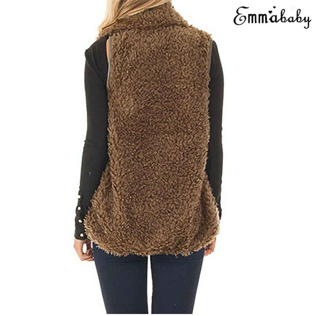 Kobiety Faux Fur kamizelka polarowa płaszcz panie solidna kurtka wiosna zima ciepła kamizelka polarowa znosić nowe mody