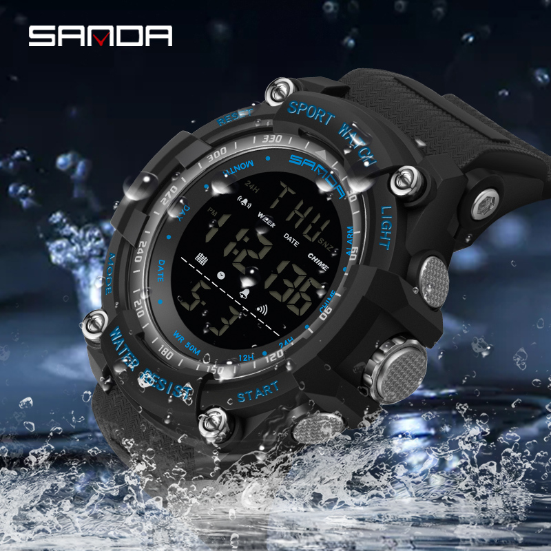 Top marque montre-bracelet 50M étanche hommes montres chronomètre Quakeproof numérique montre mode homme sport horloge SANDA montres cadeau 5