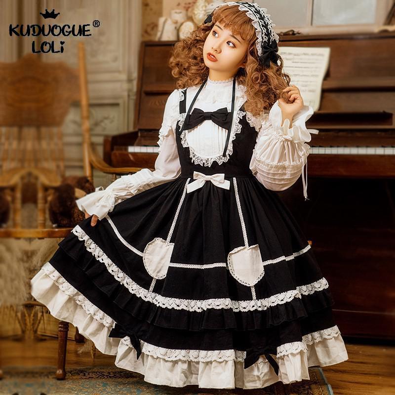 Lolita JSK Dress Girls Strap Sweet Mid-Length High Waist Princess Heart Ruffle Bow Lace Decoration Jumper Skirt Black Blue Women