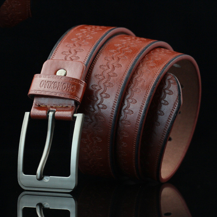 New First Layer Leather Belt Men's Genuine Leather Belt Luxury Brand Brushed Metal Buckle