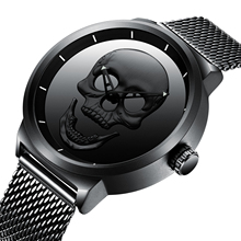 BIDEN Male Watch Simplicity Modern Mens Quartz Fashion Watches 2019 Black Mesh Waterproof High Quality Unusual Skull Wristwatch