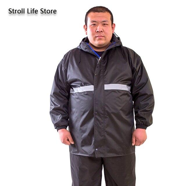 Large Plus-size Raincoat Men Rain Pants Set Double-Layer Fat Man Raincoat Waterproof Suit for Fishing Hiking Capa De Chuva Gift