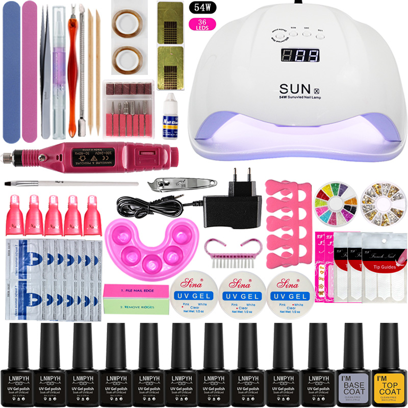 Manicure Set Nail Gel Polish Base Top Coat Nail Kits 24w/48w/54w Uv Led Lamp Electric Manicure Handle Nail Art Tool Set