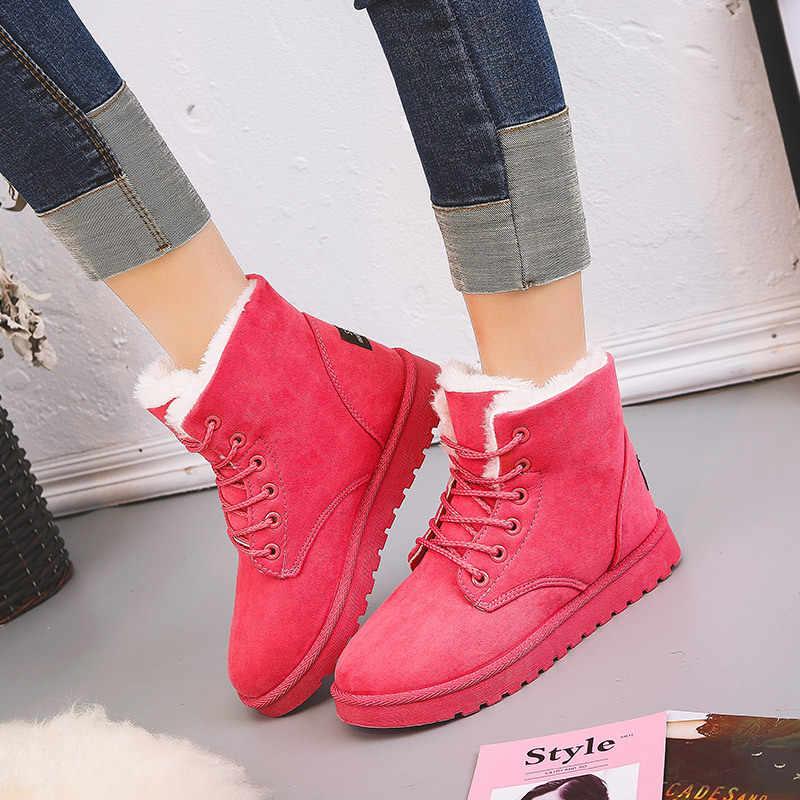 LZJ botas de Invierno para mujer botas de invierno más cálidas de piel de felpa gamuza plana deslizamiento en el tobillo botas de nieve zapatos de mujer moda plataforma negro