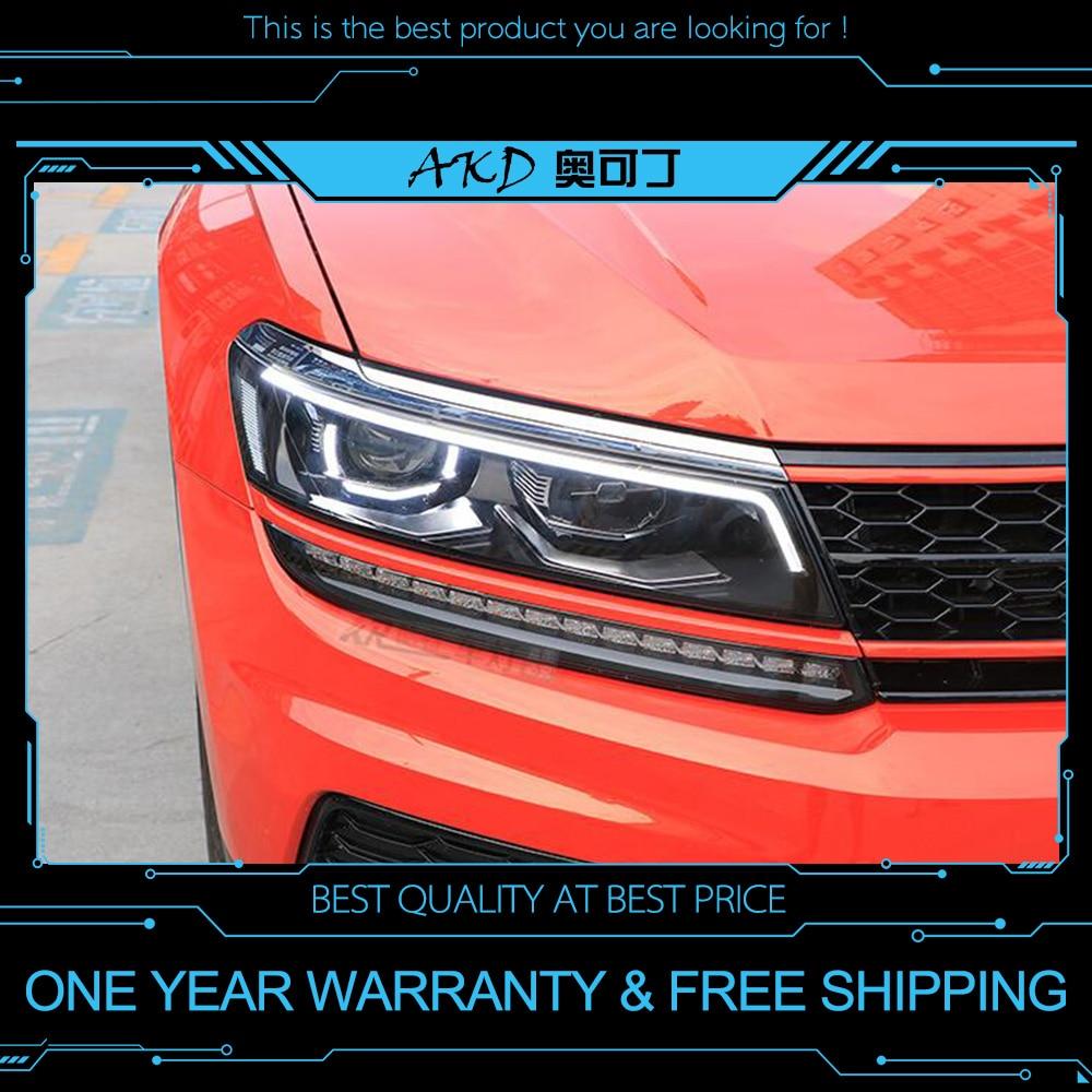 AKD tuning cars faro para VW Tiguan L 2017 2018 faros LED DRL luces de marcha bi-xenon Beam faros de niebla tipo Ojos de Ángel Auto