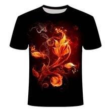Футболка с 3d принтом пламени для мужчин и женщин модная рубашка