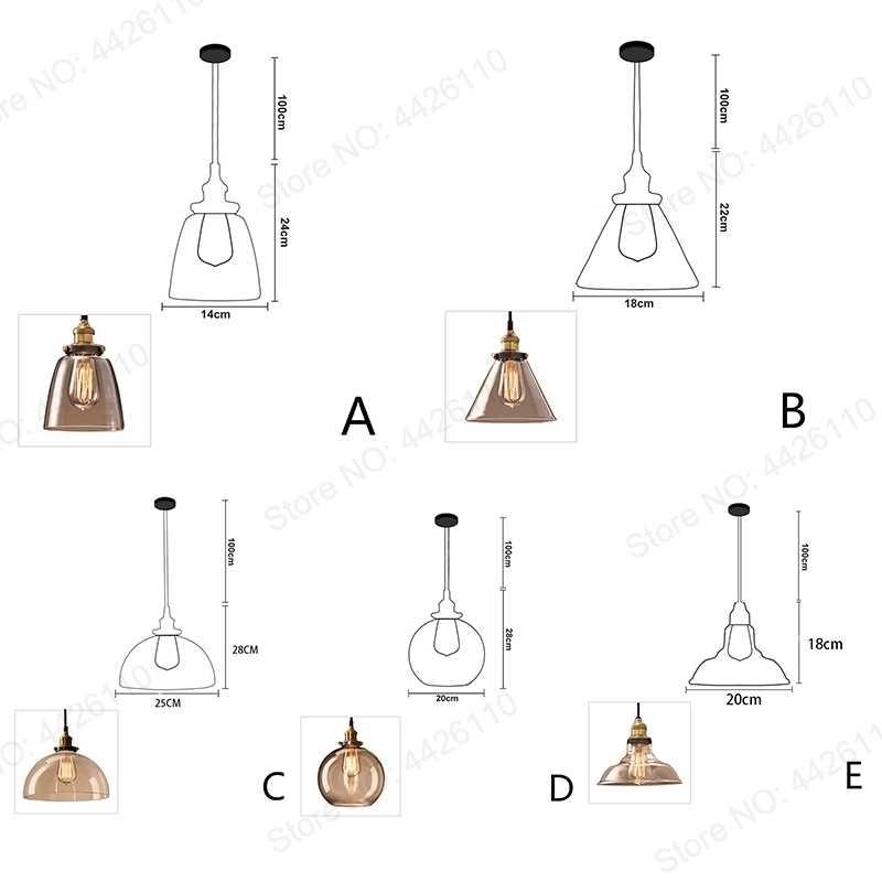 Lámparas colgantes clásicas para Loft, lámparas colgantes industriales De cristal, lámpara para colgar, lámparas grises ahumadas, lámparas De Techo, Colgante moderno