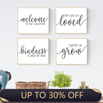 Classroom Wall Pictures Decoration Welcome Kindness Loved Quotes Posters and Prints Inspiration Canvas Painting Homeschool Decor image