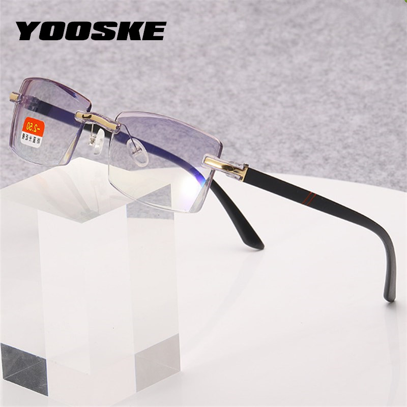 YOOSKE Anti-blue Light Finished Myopia Glasses Rimless Eyeglasses Students Short Sighted Eyewear -1.0 -1.5 -2 -2.5 -3 -3.5 -4