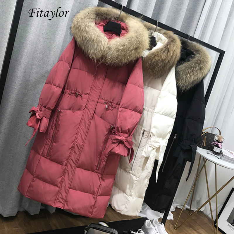Fitaylor Large Natural Fur Collar Warm Hooded Jacket Long Parkas Women 90% White Duck Down Parka Winter Loose Thick Snow Outwear