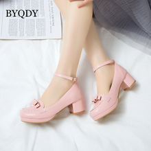 BYQDY Soft Leather Women Pumps Lolita Shoes Chunky Heels Mary Jane Shoes Bow Block Heel Japan Anime Buckle Strap Pink Pumps  43 12 5cm block high heel gothic queen cosplay shoes buckle straps lolita pumps shoes