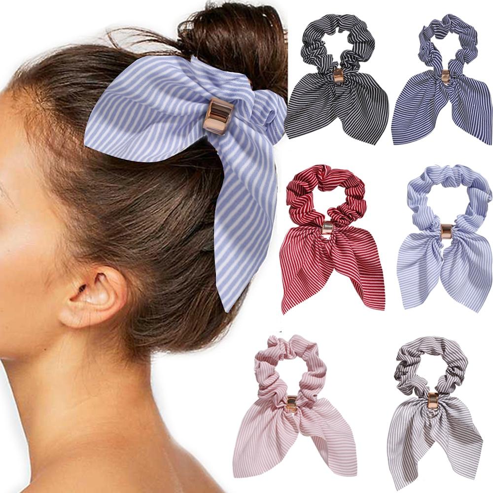 Женские леопардовые резинки с цветочным принтом, однотонные длинные резинки для волос, Женский хвостик, шарф, аксессуары для волос