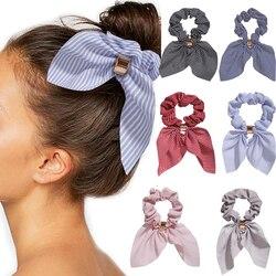 Moda floral impressão listra leopardo scrunchies sólido longo fita de cabelo para as mulheres rabo de cavalo cachecol doce faixa de cabelo acessórios para o cabelo