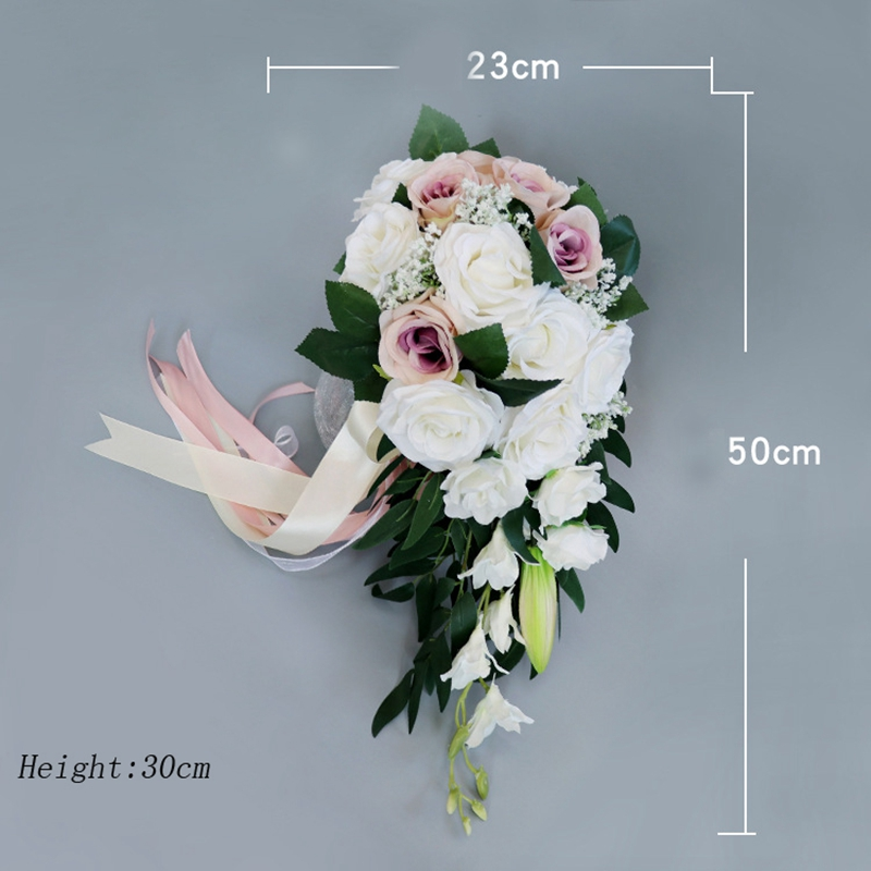 Waterfall Bride Dripping Bouquet Artificial Flowers Silk European Fresh White Rose Bouquet DIY Family Party Decoration