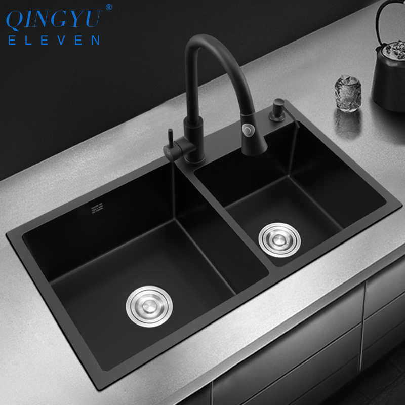 New Double Bowl Kitchen Sink Nanometer Antibacterial Black 304 Stainless Steel Nano Technology Black Double Sink