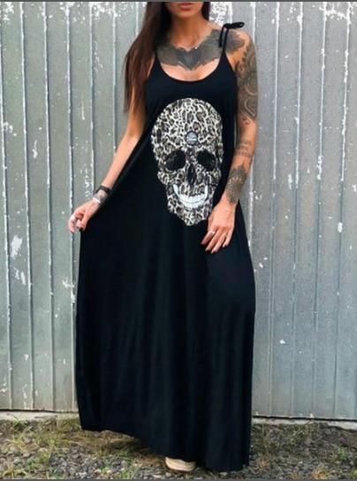 Casual Punk Loose Short Sleeve Skull Print Dress 3