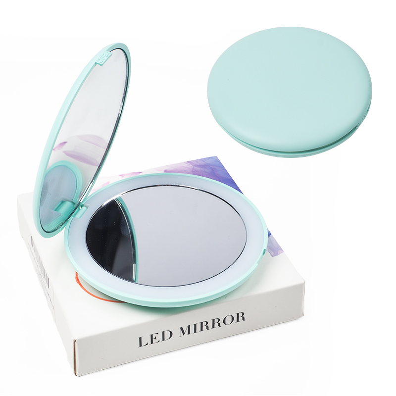 10X HD Magnifying Lighted Makeup Mirror 5 Colors Light Mini Round Portable LED Make Up Mirror Sensing Foldable makeup mirror