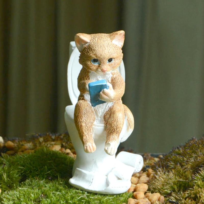 Cute Cat Rabbit Sculpture Figurine Collection Miniature Animals Statue Home Decor Desktop Ornament Garden Decor Accessories