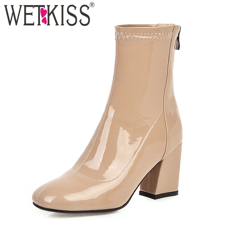 WETKISS Patent Pu Ankle Boots Women High Heels Thick Boot Female Sock Shoes Ladies Square Toe Shoes Winter 2020 Big Size 46