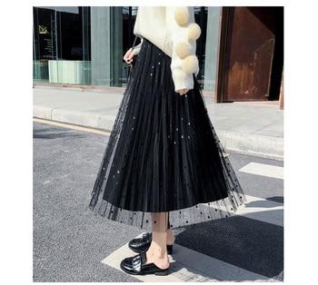 2019 Summer Autumn Womens Skirt Female Korea Polka Dot Long High Waist Summer Pleated Beach Skirt Mesh Velvet 2 Style 5 Color