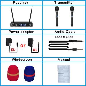 Image 5 - Freeboss FB U35 Dual Way UHF Fixed Frequency Karaoke Party Church Wireless Microphone System with 2 Handheld Microphone