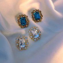 MENGQIAO – boucles d'oreilles Vintage carrées en cristal pour femmes, accessoires de luxe simples, bijoux