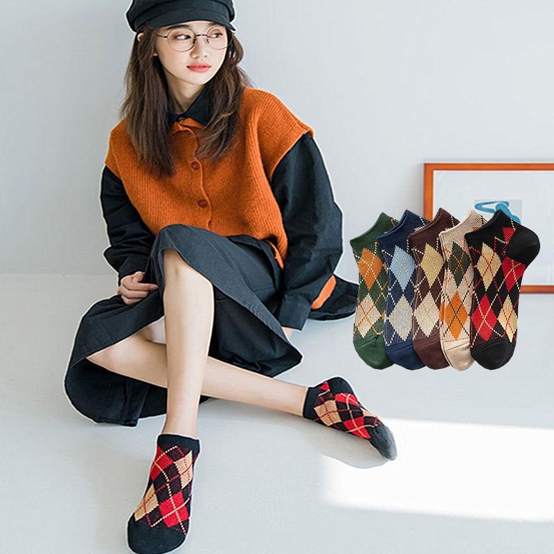 Funny Casul Fashion Argyle Ankle Socks Women Girls Cute Geometric 100 Cotton Combed Diamond Check Harajuku Vintage Student Socks
