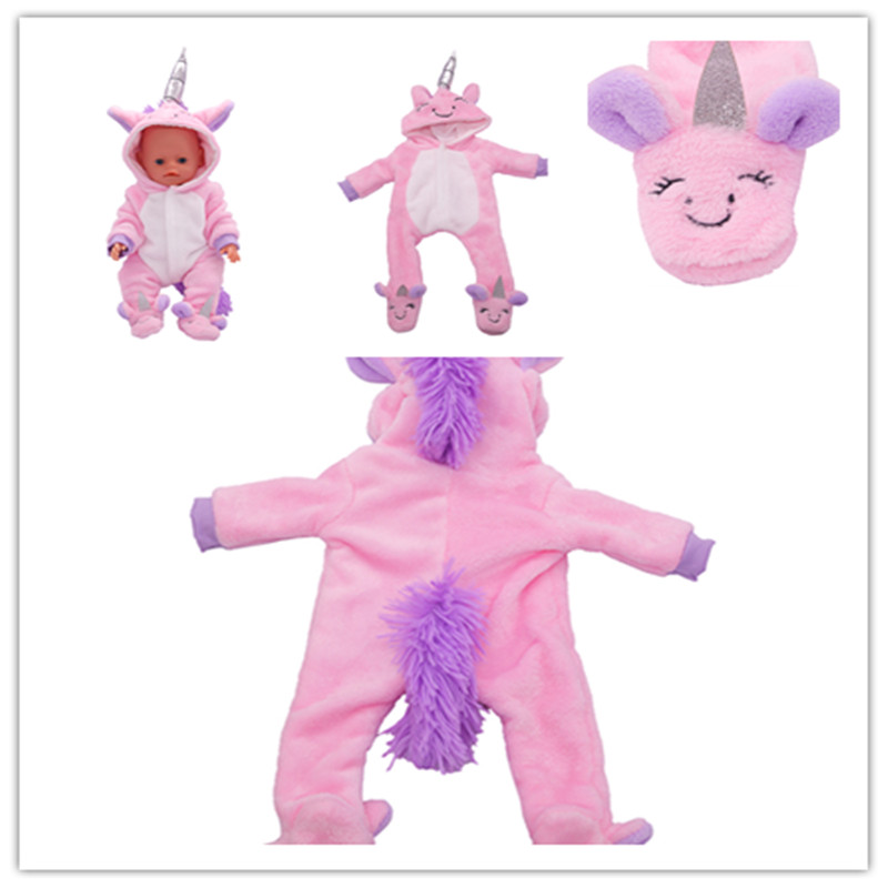 Fit 18 Inch 43cm Doll Clothes Accessories Born New Baby Pink Fur Tail Unicorn Clothes For Baby Festival Gift