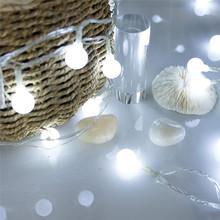 1 2M 3M wróżka wianek lampa LED Ball String światła wodoodporna na boże narodzenie drzewo ślub dekoracja wnętrza domu zasilany z baterii tanie tanio EWOI 1 year CHRISTMAS Z tworzywa sztucznego Żarówki led Brak 4 5V Klin Suche baterii 300cm 6-10m WHITE MULTI Ciepły biały
