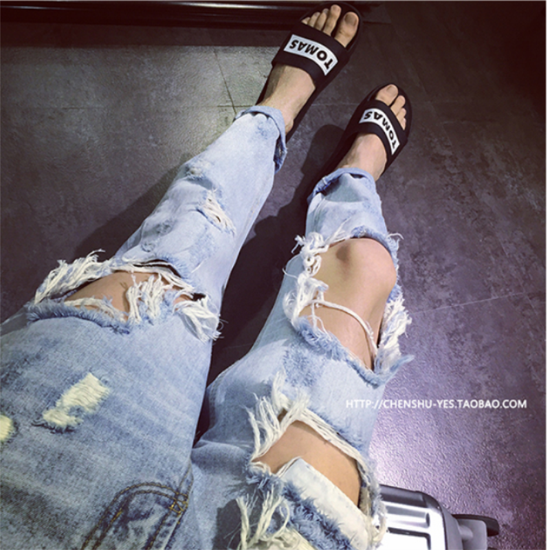 28-42 Big Ripped Jeans Trendy Men Exaggerated Trend Wild Cropped Pants Oversized Super Ripped Personality Nightclub