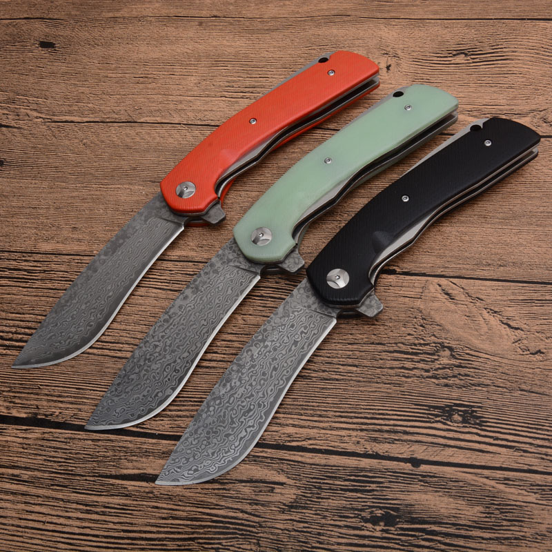 Free shipping 3 color sharp VG-10 Damascus Steel imports blacksmithing camping tool folding knife G10 handle self-defense knife