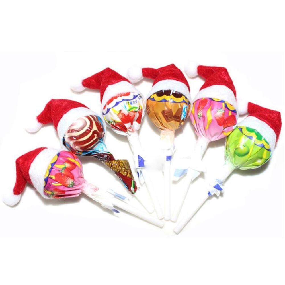 6 Pcs/set Lollipop Christmas Hat Small Mini Candy Santa Claus Cap DIY Decoration Party Accessories Lollipop Hat Wedding Gifts