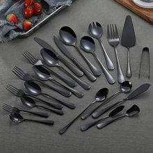 Stainless Steel Tableware Mirror Cutlery Set Black Kitchen Set Dinnerware Spoon and Fork Dinner Set Tableware Home Flatware