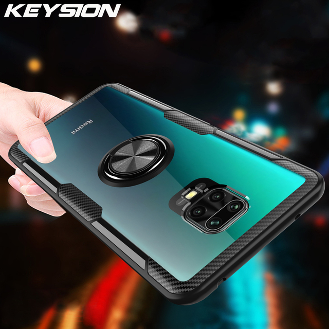 KEYSION Ring Case for Redmi Note 9S 9 Pro Max 8 Pro 7 K20 Clear Shockproof Phone Cover for Xiaomi Mi 10 9T Pro Note 10 Mi 9 Lite