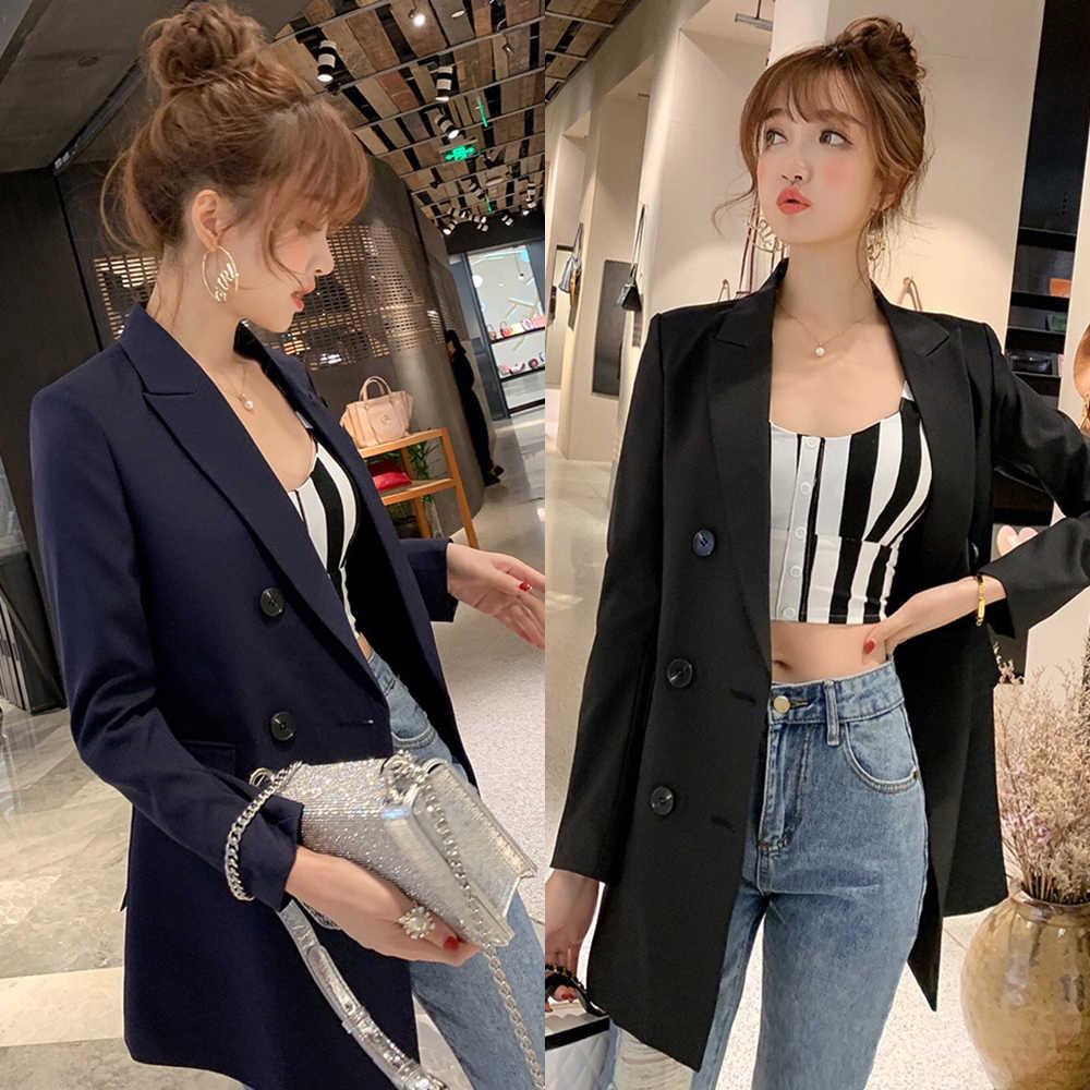 נשים מקרית בלייזר מעיל מעיל אופנה 2020 אביב סתיו טור כפתורים כפול משרד ליידי ארוך טרייל נקבה הלבשה עליונה למעלה מעילים