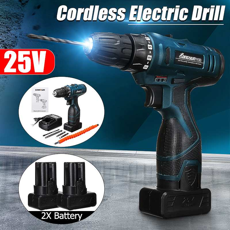 25V 2200 mAh lithium-ion Battery Cordless screwdriver Electric drill hole electrical Screwdriver hand driver Wrench power tools