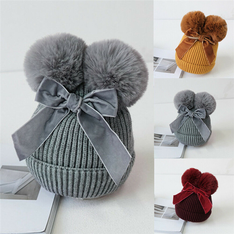 Baby Stuff Double Pom Poms Hats Warm Winter Knitted Kids Baby Girls Hat Thicker Children Beanie Caps Bonnet Bow Lovely Hat 2020