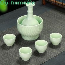 Японский креативный зеленый керамический набор для вина домашний
