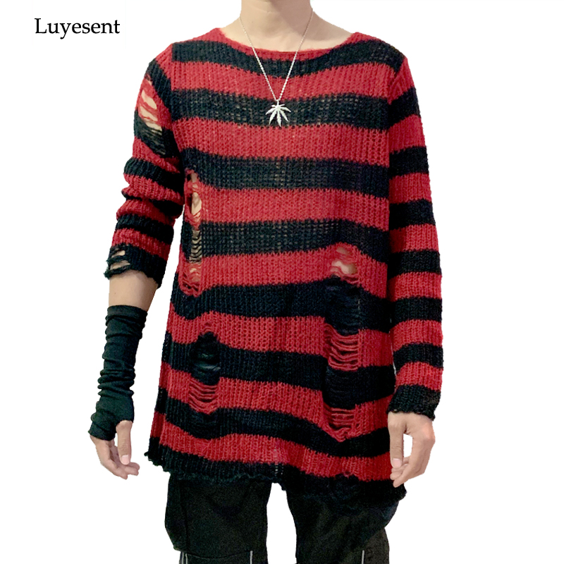 Punk Gothic Cool Male Striped Long Sweater Man Stretch Thin Pullover Broken Sweaters Hollow Out Slit Spring KnitTop Jumpers 2020