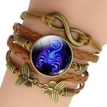 12 signo do zodíaco tecido pulseira de couro aquário peixes aries taurus constelação jóias presente aniversário