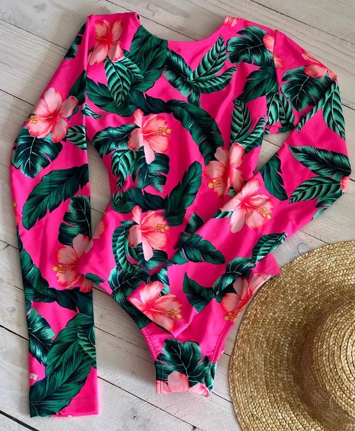Женский слитный купальник с длинными рукавами, Цветочный купальник, монокини с тропическим принтом, открытая спина, фламинго, купальный костюм, боди Bain - Цвет: MAG18149R4