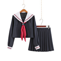 Japanese Jk Uniforms Sailor Suit Autumn Cosplay College Middle School Uniform Dress For Girls Students Anime Pleated Skirt