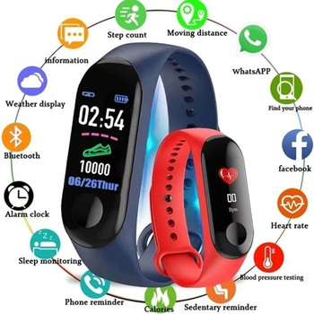 Blood Pressure Activity Tracker Sport Smart Watch Women M3 Fitness Bracelet IP67 Waterproof Watch Connect Android Wristband Man