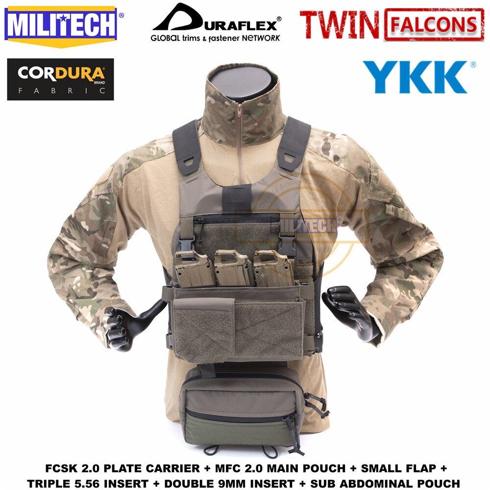 Slickster MILITECH FCSK TW 2.0 Avançada Ferro Plate Carrier Com MFC 2.0 Bolsa Principal E Sub Abdominal Bolsa Loadout Conjunto lidar