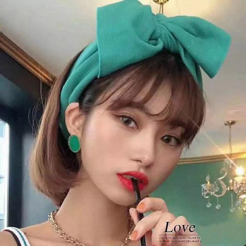 2019 Fashion Big Bow Headband For Women Girls Hair Accessories Solid Turban Elastic Hair Bands Winter Knit Headwrap Hair Bows