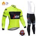 Черно-белый трекинговый велосипед с длинными рукавами, одежда из теплого флиса, Ropa Roupa Invierno, одежда для MTB велосипеда, зимняя одежда для велос...